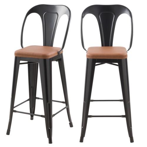 acheter chaise de bar industrielle noire