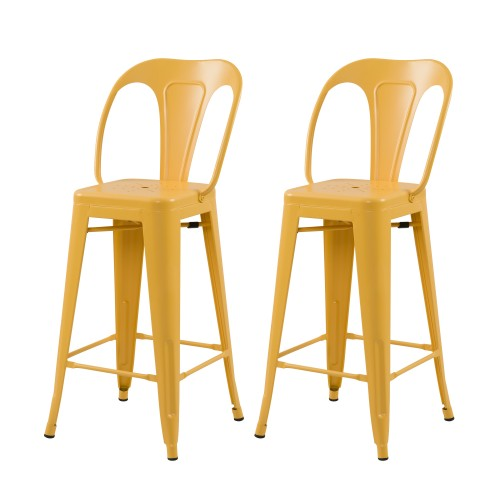 acheter chaise de bar jaune lot de 2