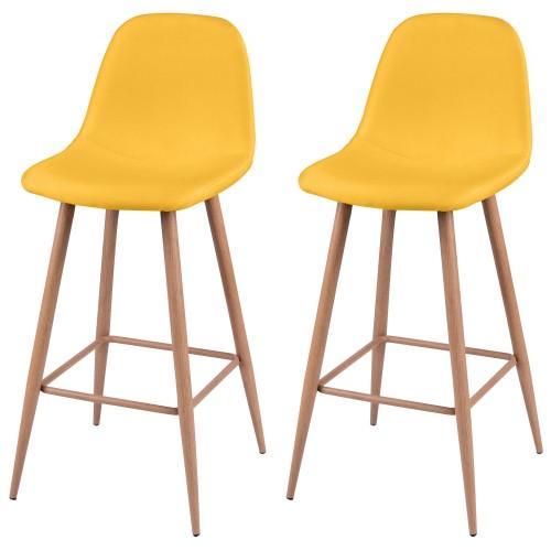 acheter chaise de bar jaune tissu