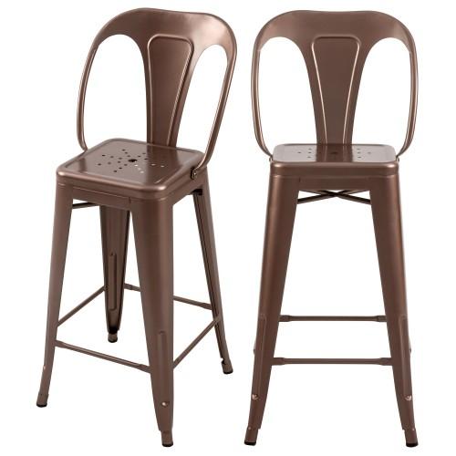 acheter chaise de bar lot de 2 cuivre métal
