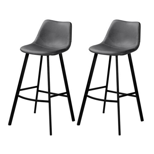 Chaise de bar Falko grise 80 cm (lot de 2)