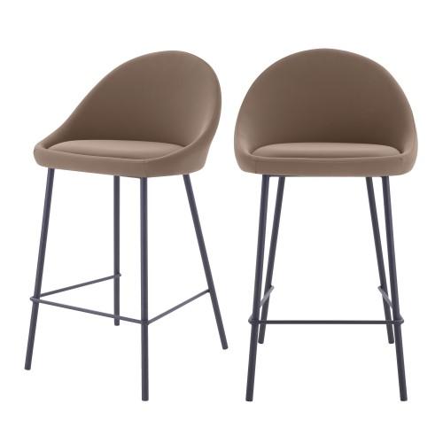 acheter chaise de bar marron avec dossier lot de 2