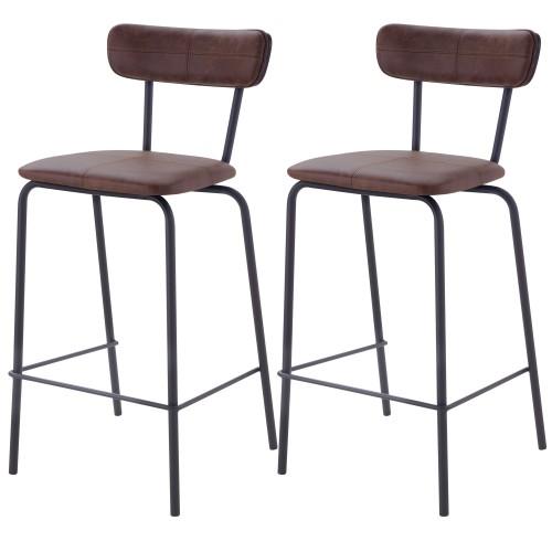 Chaise de bar mi-hauteur Lili marron 65cm (lot de 2)