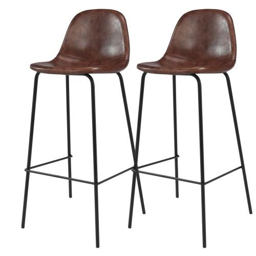 Chaise de bar Henrik marron 75 cm (lot de 2)