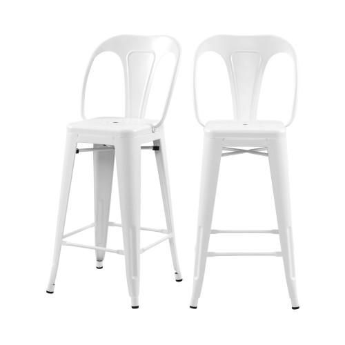 acheter chaise de bar metal blanc mat lot de 2