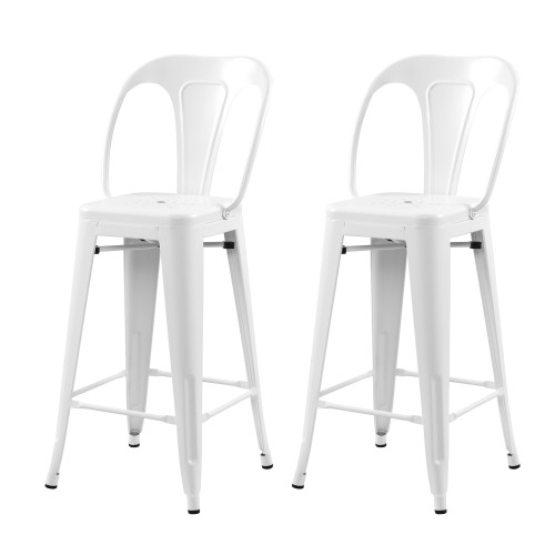 Chaise de bar Indus blanc mat 66 cm (lot de 2)