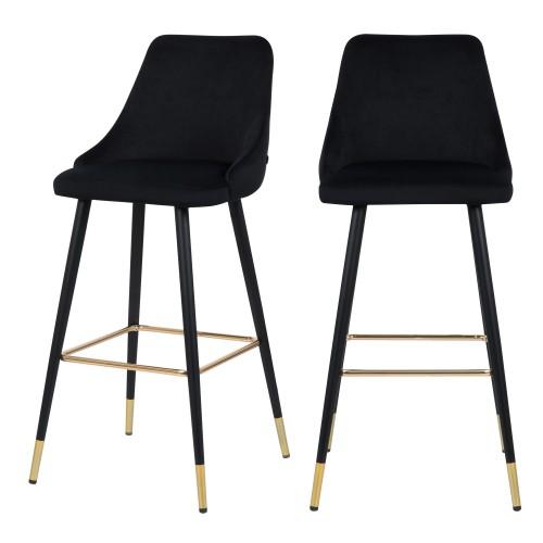 acheter chaise de bar noire design velours lot de 2