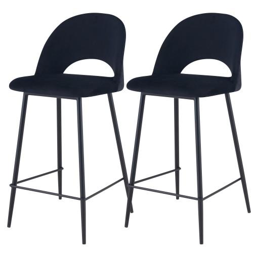acheter chaise de bar noire lot de 2 velours