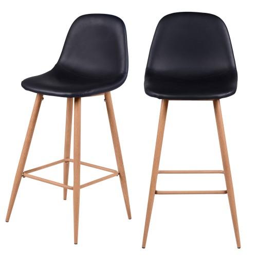 Chaise de bar Rodrik noire 73 cm (lot de 2)