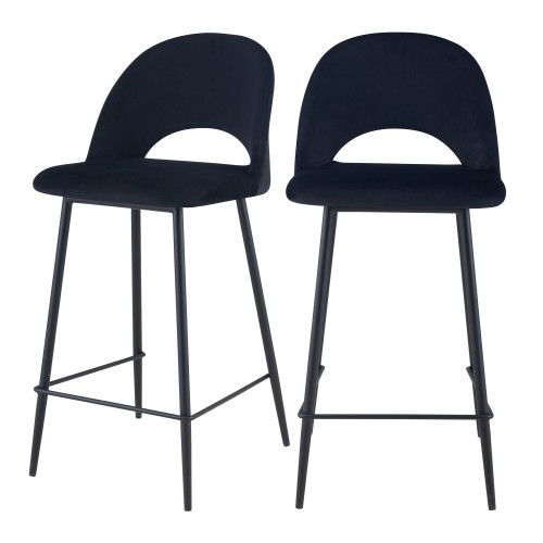 Chaise de bar mi-hauteur Pénélope noire 65 cm (lot de 2)