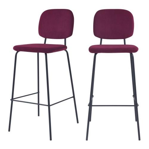 acheter chaise de bar prune lot de 2 design