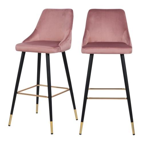 Chaise de bar Aristote en velours rose 77.5 cm (lot de 2)