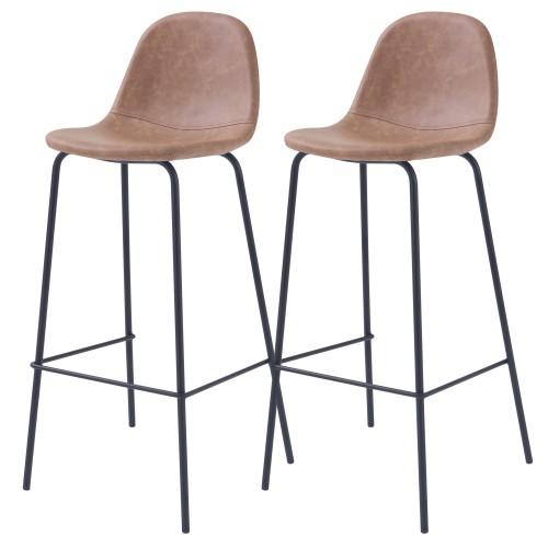 Chaise de bar Henrik taupe 75 cm (lot de 2)
