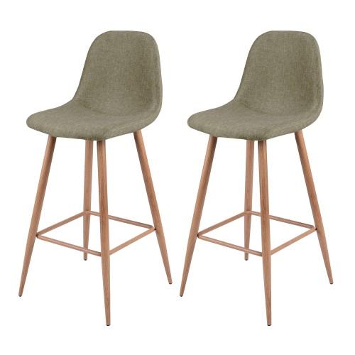 acheter chaise de bar tisssu taupe bois clair
