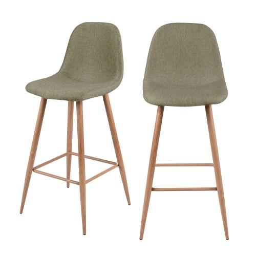 acheter chaise de bar tissu taupe pieds bois clair