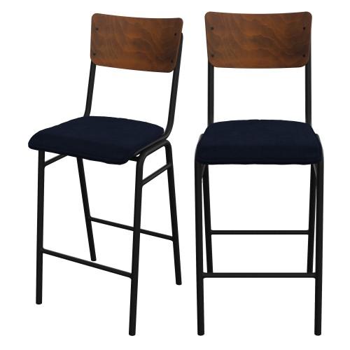 acheter chaise de bar velours bleu fonce