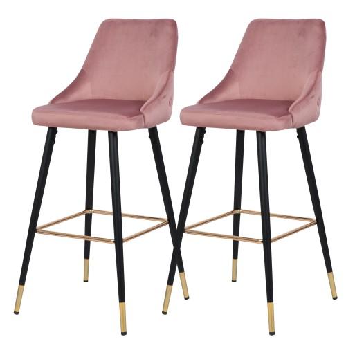 Chaise de bar Aristote en velours rose (lot de 2)