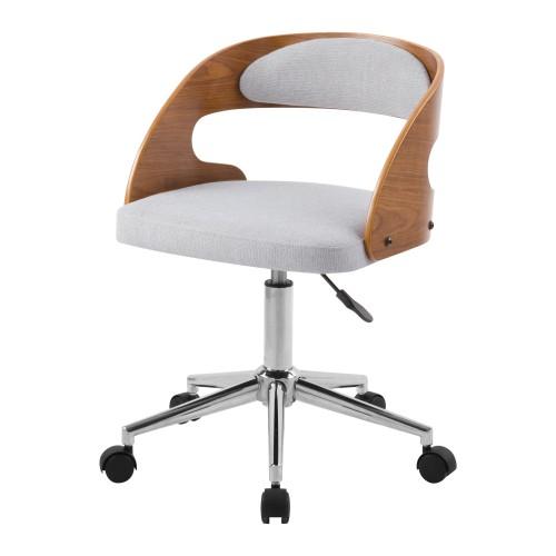 acheter chaise de bureau en bois et tissu gris