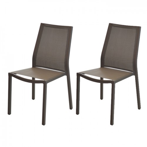 Chaise Ida empilable café (lot de 2)