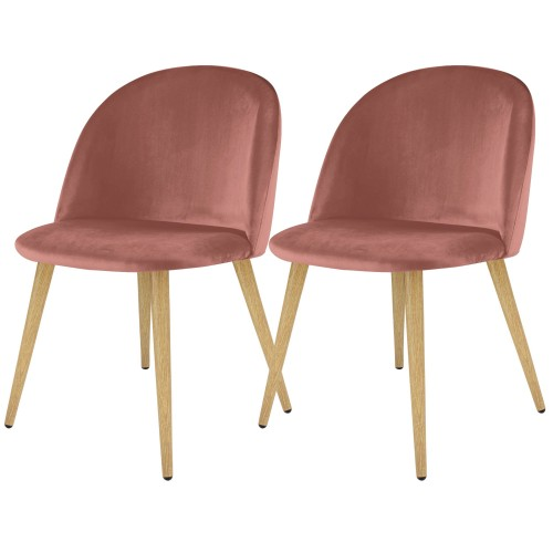 acheter chaise design lot de 2 rose