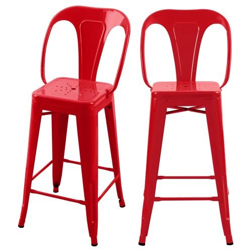 Chaise de bar mi-hauteur Indus rouge 66 cm (lot de 2)