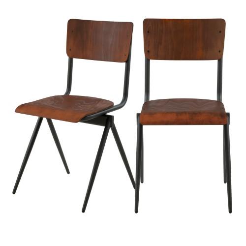 Chaise Ozzie en bois vieilli (lot de 2)