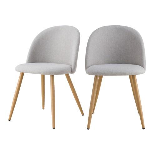 acheter chaise ecru en tissu scandi lot de 2