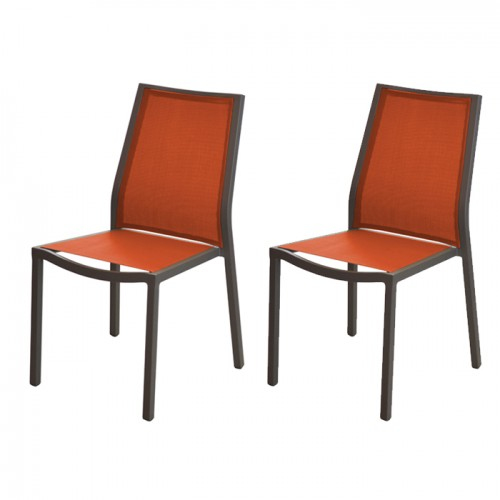 Chaise Ida empilable orange (lot de 2)