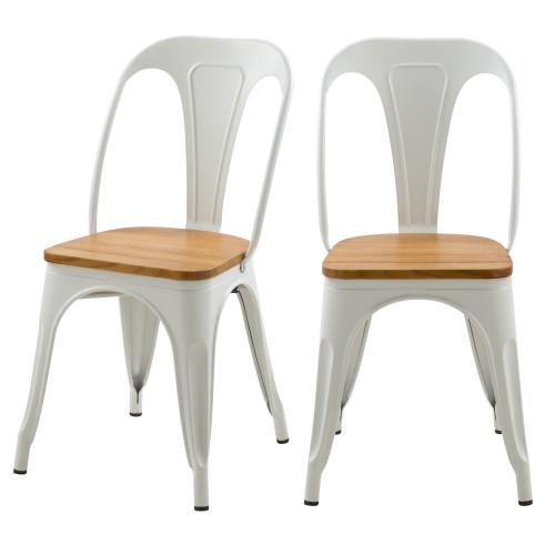 Chaise indus Yoanna blanche et bois clair (lot de 2)