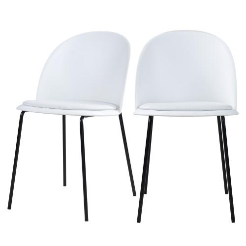 Chaise Lulu blanche en cuir synthétique (lot de 2)