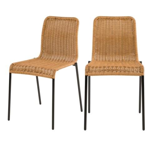 acheter chaise lot de 2 en resine naturelle