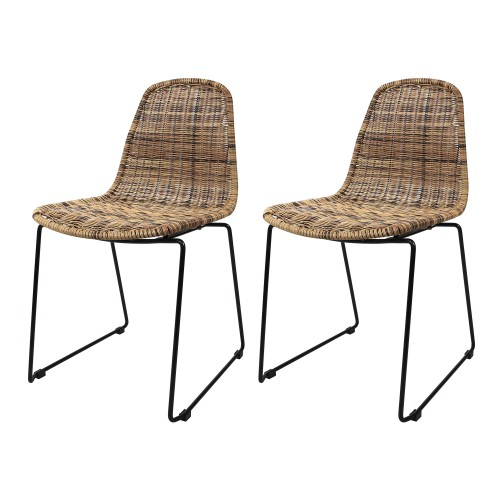 Chaise Chipie en résine tressée naturelle (lot de 2)