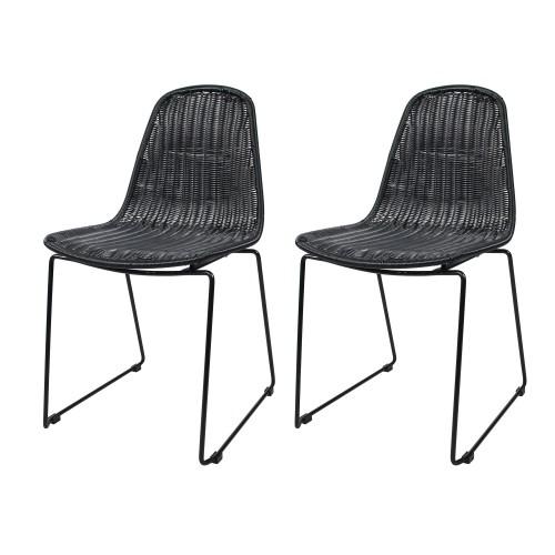 acheter chaise en resine tressee noire lot de 2