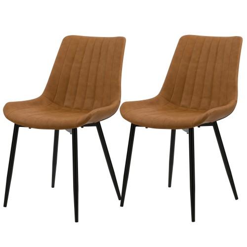 acheter chaise lot de 2 en cuir synthetique camel