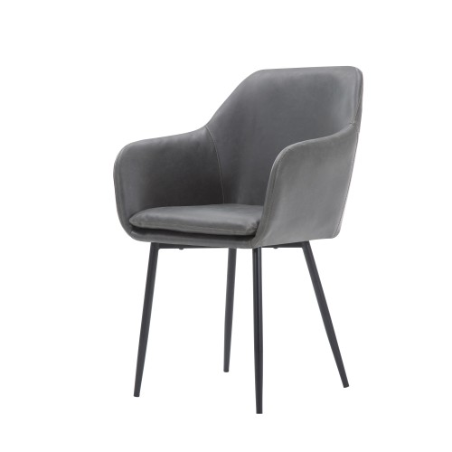 acheter chaise en simili cuir gris fonce