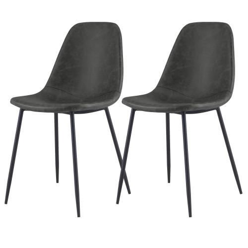 acheter chaise en simili cuir noirs lot de 2