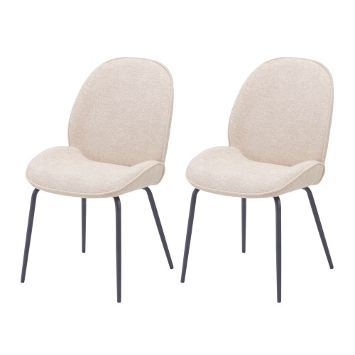 Chaise Kelly en tissu beige (lot de 2)