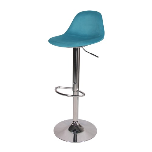 Chaise de bar Pavo en velours bleu 60/82 cm