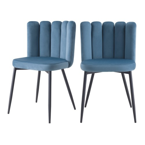 Chaise Rosy en velours bleu (lot de 2)