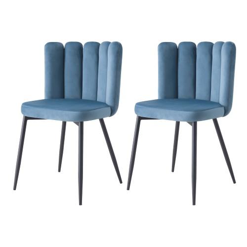 acheter chaise en velours bleue art deco