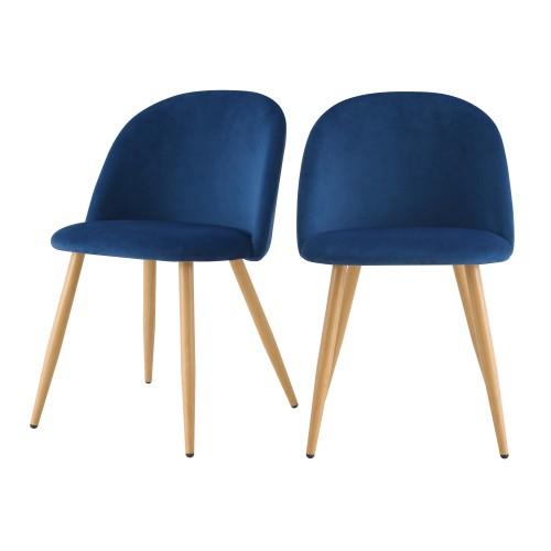 acheter chaise en velours bleue fonce scandinave lot de 2