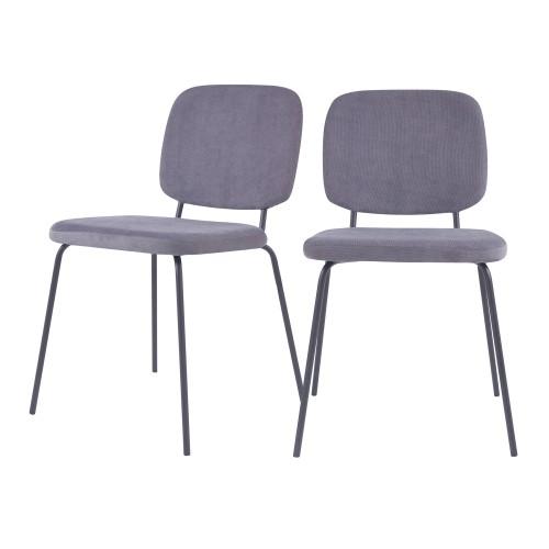 Chaise Jade en velours côtelé gris (lot de 2)