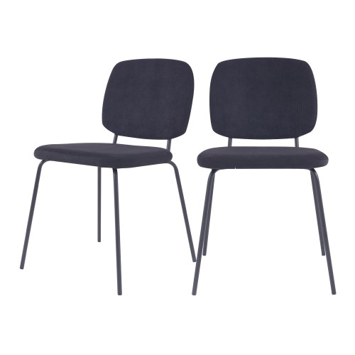 Chaise Jade en velours côtelé noir (lot de 2)
