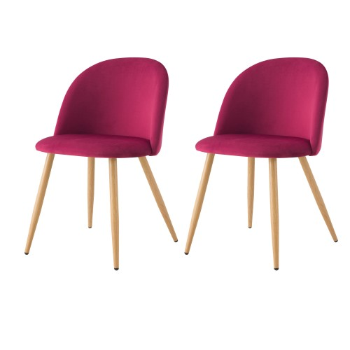 Chaise Cozy en velours fushia (lot de 2)