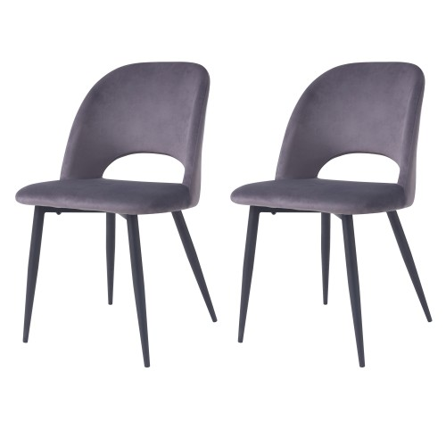 Chaise Pénélope en velours gris (lot de 2)