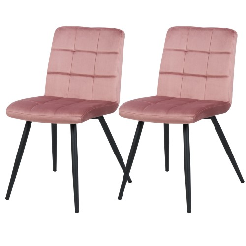 Chaise Zola en velours rose (lot de 2)