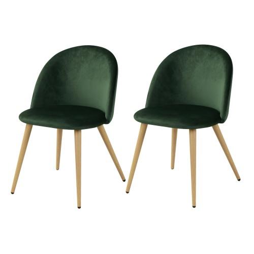 acheter chaise en velours vert fonce