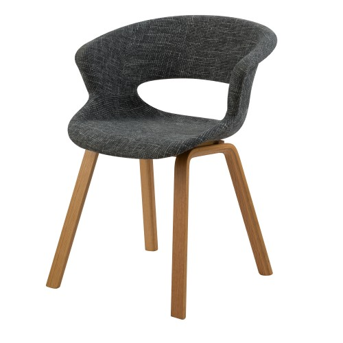 acheter chaise gris fonce en tissu pieds bois