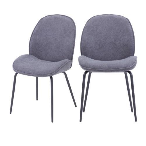 Chaise Kelly en tissu gris clair (lot de 2)