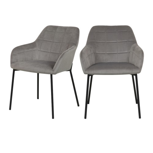 Chaise Romy en velours gris (lot de 2)